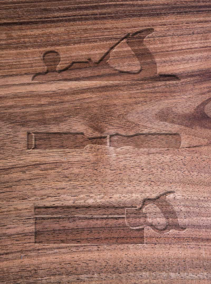 Custom designed icons featuring a wood plane, chisel and tenon saw